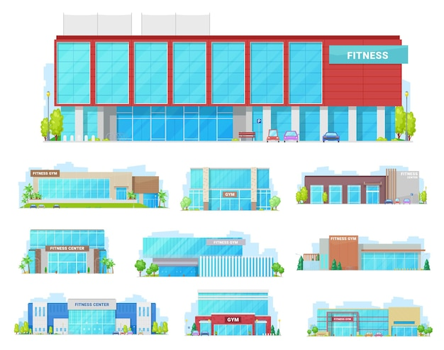 Gym, sport club and fitness center building isolated icons. front view of cartoon houses with modern facades, glass front doors and showcase windows, street, trees and car parking lots