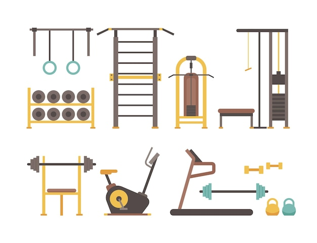Gym sport equipment. cartoon sport bodybuilder accessories for fitness training