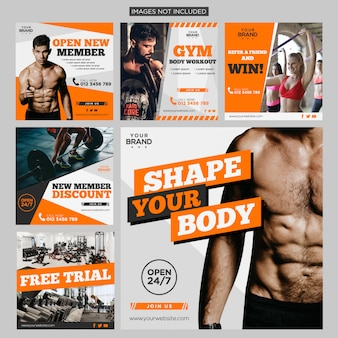 Gym sport fitness social media post pack design template premium