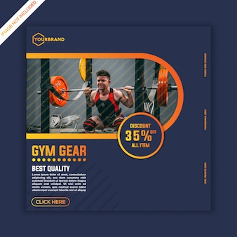 Gym sport fitness social media post template