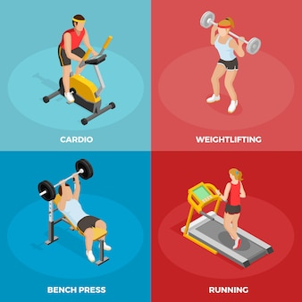 Gym sport isometric concept