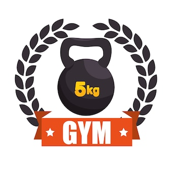 Gym sport kettle bell label graphic