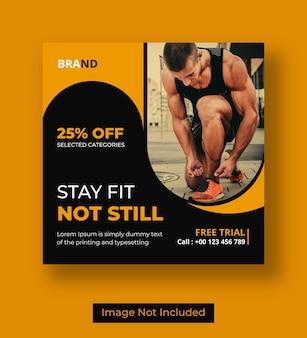 Gym square flyer or social media banner template