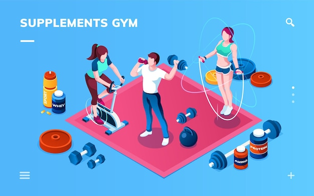 Gym supplement workout or fitness sport training application screen for smartphone isometric