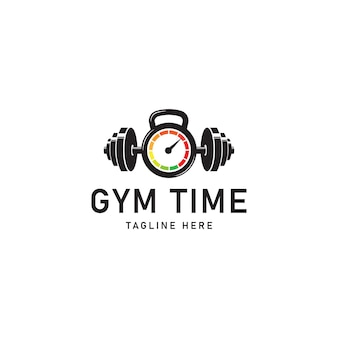 ジムの時間とフィットネスのロゴテンプレートデザインベクトル