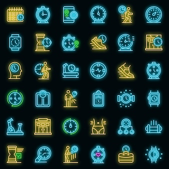Gym time icons set. outline set of gym time vector icons neon color on black