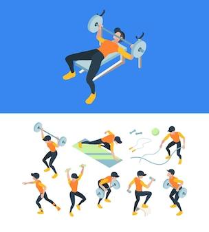 체육관 훈련. 스포츠를 만드는 피트니스 운동 사람들은 근육 운동 선수 아이소 메트릭 삽화를 연습합니다.