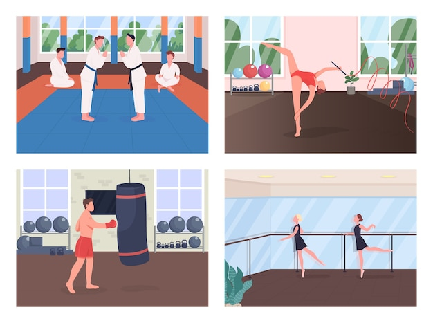 Gym training flat color  set. martial arts exercise. gymnast rehearsing. ballet dancer lesson. sportsman 2d cartoon characters with training studio on background collection