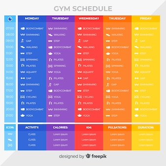 Gym training schedule template