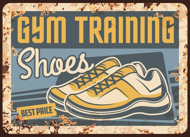 スポーツスニーカーとジムトレーニングシューズさびたプレート