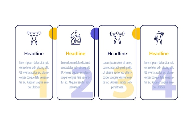 Gym training, workout, 4 steps infographic with line fitness icons