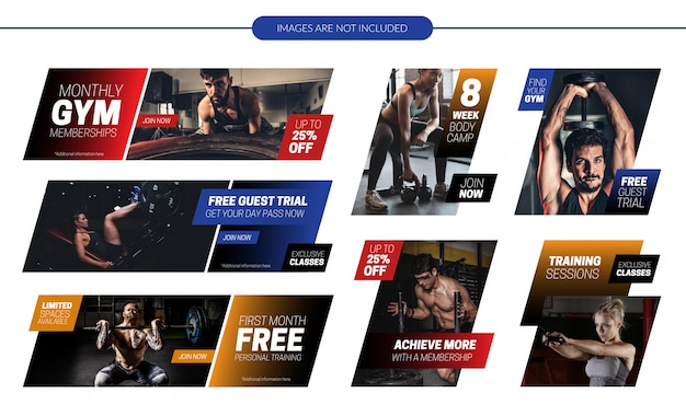 Gym website promotional banners set