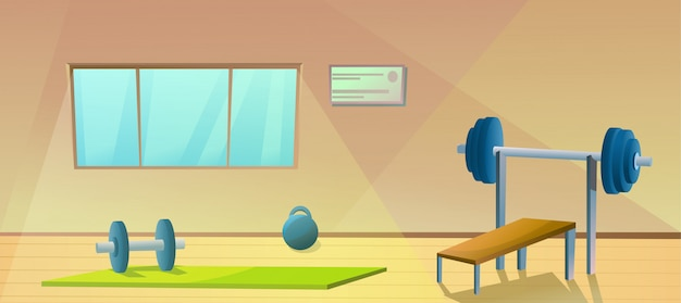 Gym with window  sport interior with barbells