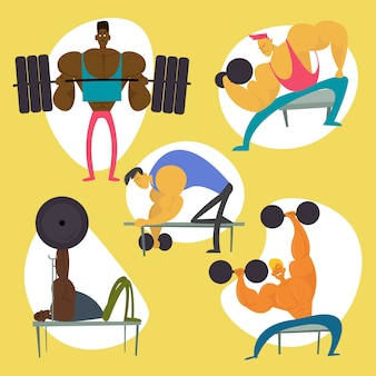 Gym workout character set. fitness man figure collection. flat vector illustration