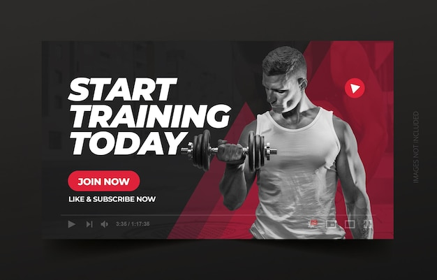 Gym youtube thumbnail and web banner template Premium Vector