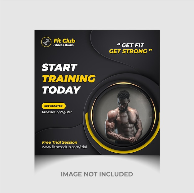 Gym zone instagram post or social media post and square flyer template premium vector