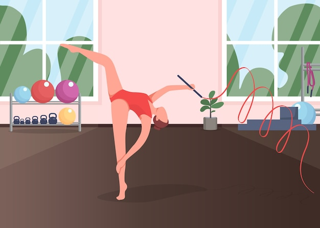 Гимнастка в студии плоской цветной иллюстрации. акробат репетирует танец. гимнастические упражнения. активный образ жизни. тренировка спортсменок 2d-персонажей мультфильмов с тренажерным залом на фоне
