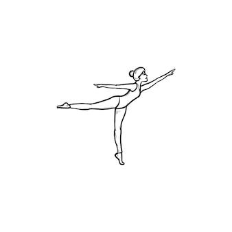 Гимнастка женщина танцует рисованной наброски каракули значок. танцовщица, подтянутая стройная девушка, концепция художественной гимнастики