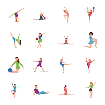 Gymnastic poses flat icons pack