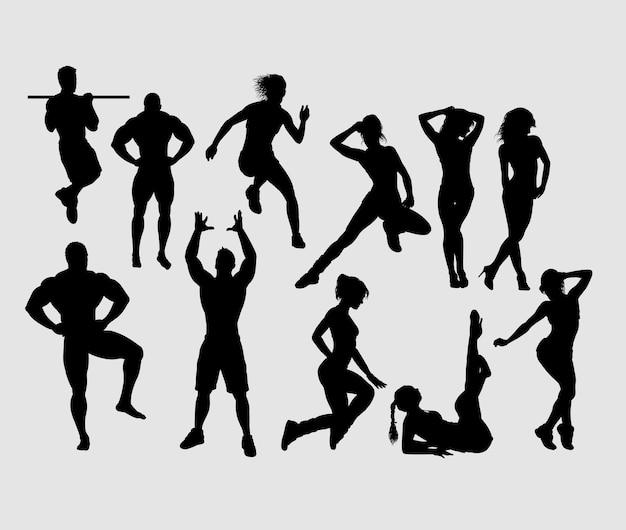 フィットネスとgymnastic男性と女性のスポーツのシルエット