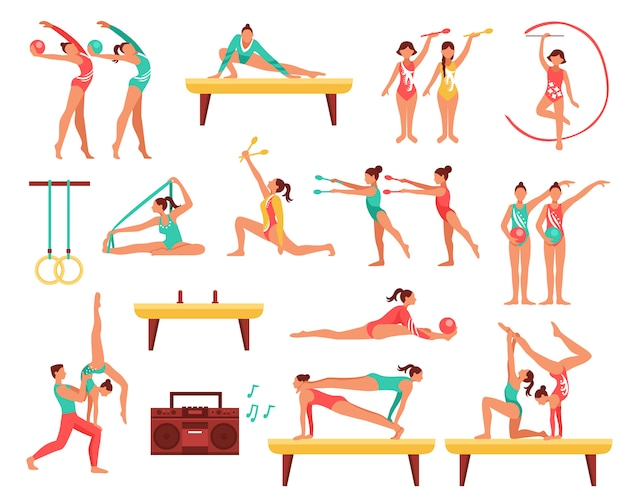 Gymnastics and actobatics decorative icons set