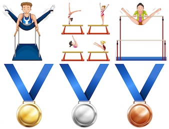 Gymnastics athletes and sport medals illustration
