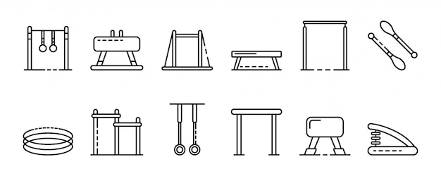 Gymnastics equipment icons set, outline style