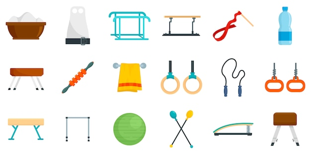 Gymnastics equipment icons set