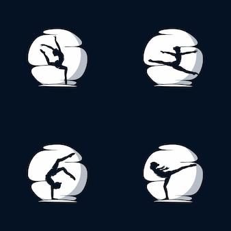 Гимнастика луна логотип векторные иллюстрации