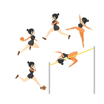Gymnastics vector cartoon illustration