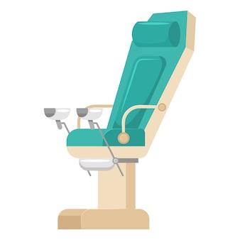 白い背景で隔離の婦人科椅子のアイコン。
