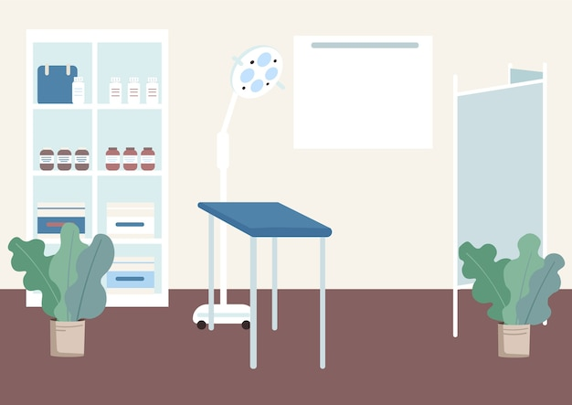 Gynecologist cabinet flat color illustration. table for health examination. checkup equipment. lamp for prenatal check. clinic room 2d cartoon interior with hospital furniture on background