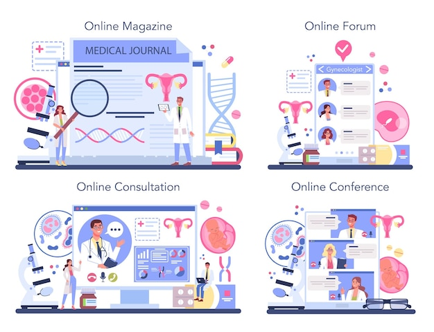 産婦人科医のオンラインサービスまたはプラットフォームセット