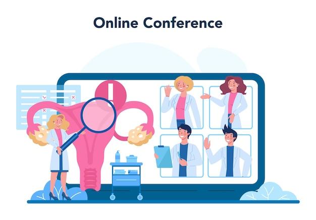 Gynecologist online service or platform illustration