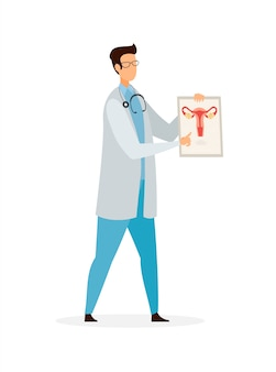 Gynecologist profession flat vector illustration