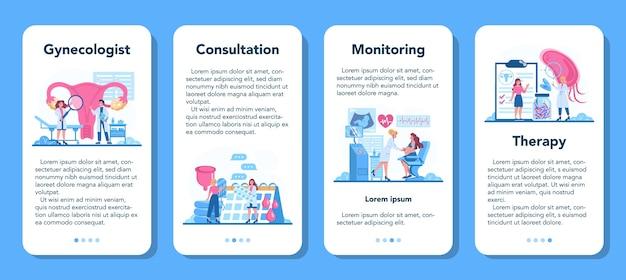 산부인과 전문의, 생식 전문의 및 여성 건강 온라인 서비스 또는 플랫폼 세트