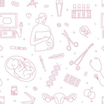 산부인과 및 임신 선형 벡터 완벽 한 패턴입니다. 산부인과 및 출산 장식 개요 배경입니다. 임산부, 태어나지 않은 아기, 의료 장비 라인 아트 삽화. 프리미엄 벡터