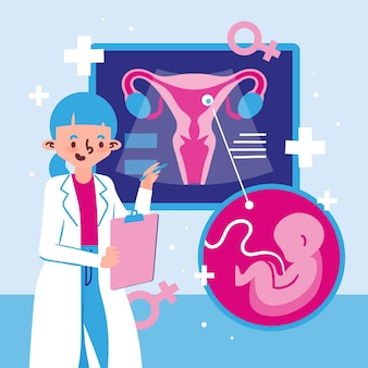 Gynecology concept illustrated with doctor