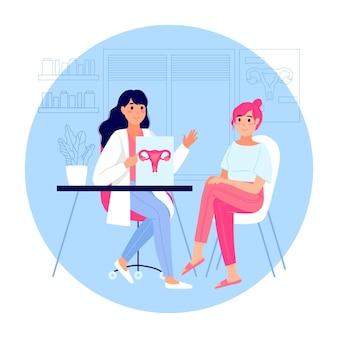 Illustrazione di consultazione ginecologica