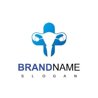 Вектор дизайна логотипа гинекологии с символом шейки матки