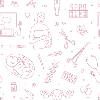Gynecology and pregnancy linear vector seamless pattern. obstetrics and childbirth decorative outline background. pregnant woman, unborn baby and medical equipment line art illustrations.