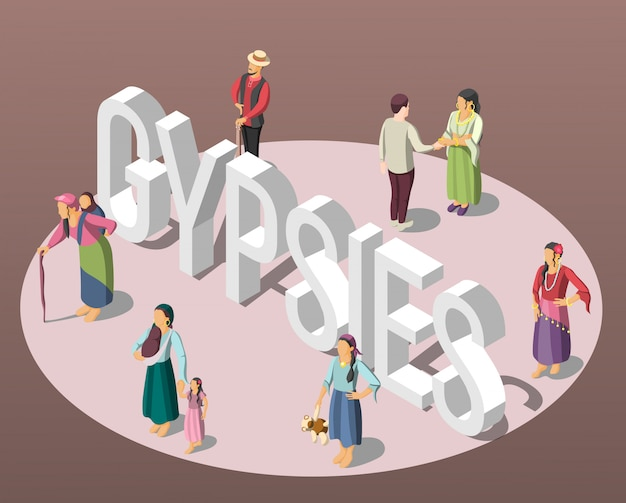Gypsies isometric background