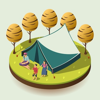 Gypsy camping isometric concept illustration