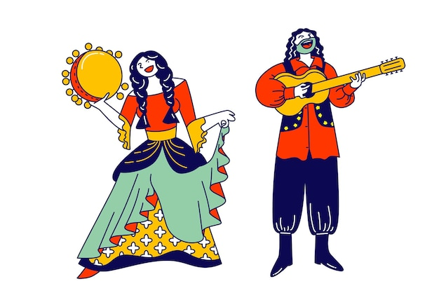 Gypsy couple dressed in ethnic wear dancing and playing guitar and tambourine. cartoon flat illustration