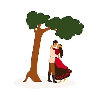 ジプシーカップル会議フラットベクトルイラスト。木の漫画のキャラクターの近くを抱きしめる恋人。若い男の子と女の子のデート。ロマ愛好家のロマンチックな関係。最愛の美しいジプシーの女性。