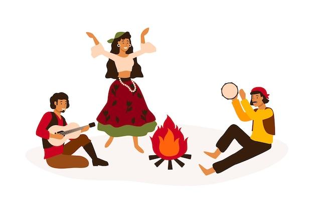 집시 전통 엔터테인먼트 평면 벡터 일러스트 레이 션. 흰색으로 분리된 민속 악기를 연주하고 춤추는 로마니 사람들. 국가 의상 만화 캐릭터의 남성과 여성.