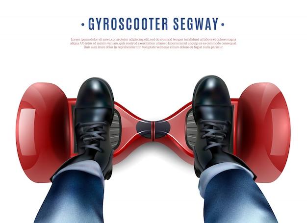 Gyro scooter feet реалистичный вид сверху