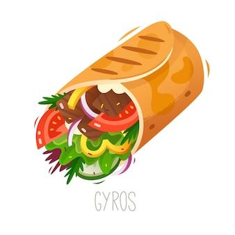 ジャイロまたはシャワルマの伝統的なトルコの屋台の食べ物肉と野菜のサンドイッチロール