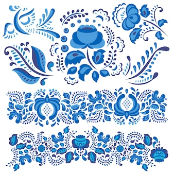 Gzhel floral motif in traditional russian style and ornate flowers and leaves in blue