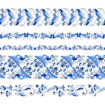 Gzhelスタイルの水平方向のシームレスパターンのセット